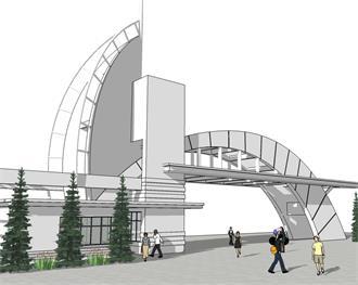现代入口园林景观模型