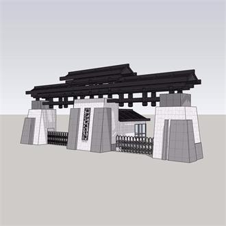 中式入口园林景观模型