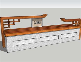 中式座椅长凳景观模型