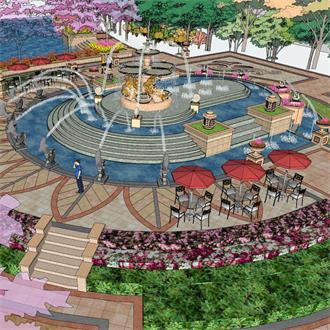 喷泉水景景观园林模型