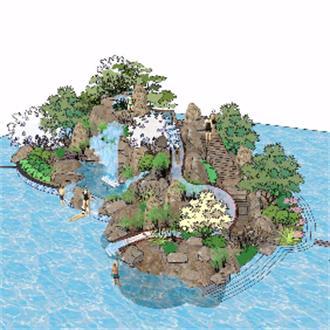假山跌水景观设计模型