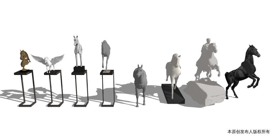 马雕塑摆件