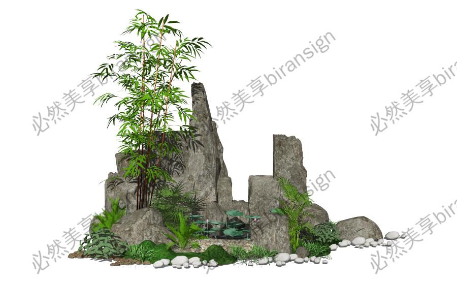 新中式假山叠石水景跌水景观景观小品