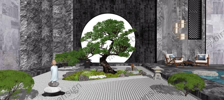 新中式景观小品庭院景观枯山水景墙SU模型