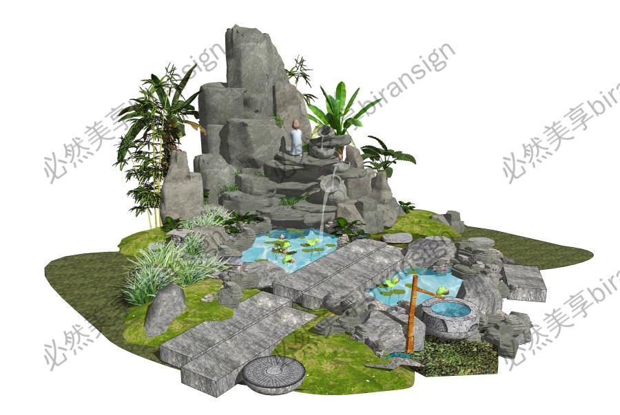 新中式庭院景观 假山叠石 假山水景SU模型