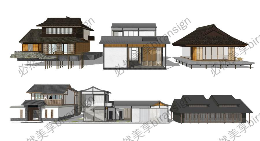 新中式建筑 民宿 景观小品 su模型