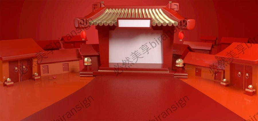 大红色中式美陈