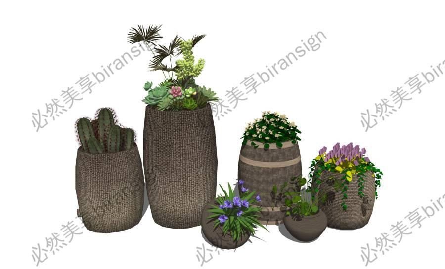 现代盆栽 木桶su模型