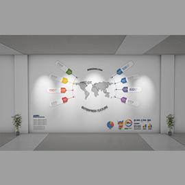 现代跨国公司企业文化墙设计概念方案模板