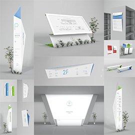 创意简约图书馆书店折纸造型导视系统设计概念方案