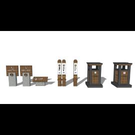 公园指示牌森林指示牌垃圾箱景观座椅