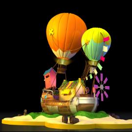 商业美陈 双热气球海盗船美陈 海洋主题美陈 海洋沙滩美陈 探险主题美陈 飞屋美陈 开业美陈