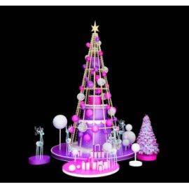 商场美陈圣诞树 圣诞球圣诞树 亮化圣诞树 麋鹿 紫色圣诞树