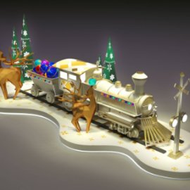 商场美陈  圣诞美陈dp 圣诞火车彩球 圣诞树 麋鹿 圣诞互动美陈