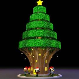 圣诞树 卡通熊猫 卡通企鹅 卡通小猫 卡通小鸡 圣诞屋 五个萌宠圣诞树