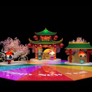 新年中式美陈dp 中庭舞台dp 卡通熊猫 卡通兔子 卡通猫