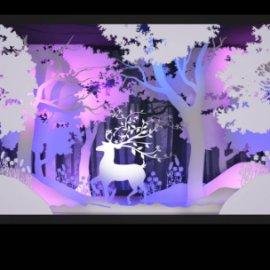 剪纸橱窗 圣诞麋鹿橱窗美陈 森林主题剪纸橱窗  商场橱窗  冬季美陈