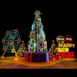 霓虹灯美陈 霓虹灯 摩天轮 圣诞树 新年美陈dp