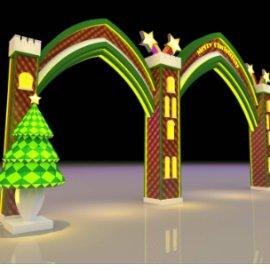 圣诞门头 商场门头美陈dp 卡通城堡门头 圣诞树
