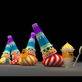 冰淇淋城堡美陈雕塑 美食美陈 糖果卡通 糖果人 商场美陈