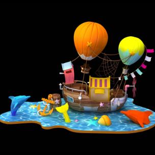 海洋探险主题美陈dp 商场开业美陈装置 海豚美陈 开业美陈 海船美陈