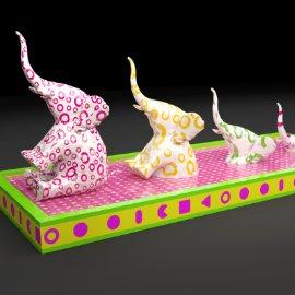 粉色大象 坐着大象 大象DP 商业美陈 黄色大象