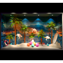 海边沙滩橱窗 海龟 椰树  模拟场景橱窗 海螺