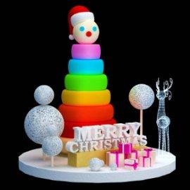 彩色圣诞树 麋鹿 雪人 礼物盒 彩色轮胎圣诞树