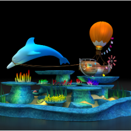 商场美陈 海底世界美陈 海船热气球美陈dp 海洋海豚美陈 珊瑚林 开业美陈