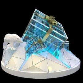 北极熊礼物盒美陈dp 冰山美陈 礼物盒 北极熊 冰山 科技感美陈