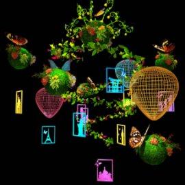 热气球吊饰 绿植吊饰 蝴蝶吊饰 商场美陈dp 环游世界美陈吊饰