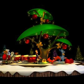 圣诞美陈 小王子与小狐狸 苹果树 圣诞树DP 商场橱窗