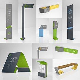 绿色简约科技几何图形主题公园导视系统