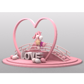love情人节鹊桥相会网红粉美陈装饰