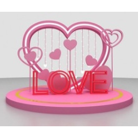 LOVE爱心情人节美陈设计