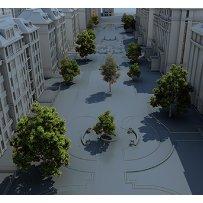 步行街道绿植树木PSD俯视鸟瞰素材