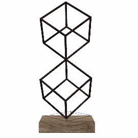 双正方形线条几何装饰品摆件模型