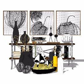 茶几配套各种摆件装饰品su模型