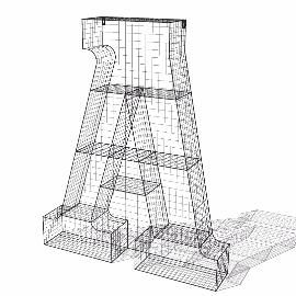 线网A字母装饰品摆件模型su