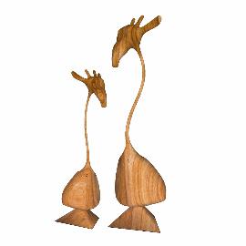 创意木质长颈鹿装饰品模型su摆件
