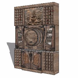 木质红酒柜酒架su模型