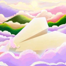 天空的幻想唯美场景插画