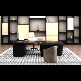 现代办公室书桌椅模型