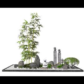 新中式日式景观小品跌水景观SU模型
