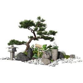 新中式日式景观小品跌水景观水景松树