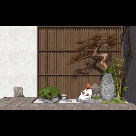 新中式景观小品庭院景观SU模型