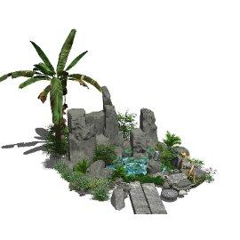 新中式假山叠石水景SU模型