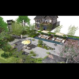 新中式花园小院庭院景观小品SU模型