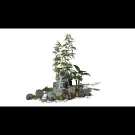 新中式景观小品跌水景观SU模型