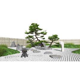 新中式庭院景观 景观松树 枯山水景观小品 假山石头 禅意小品su模型